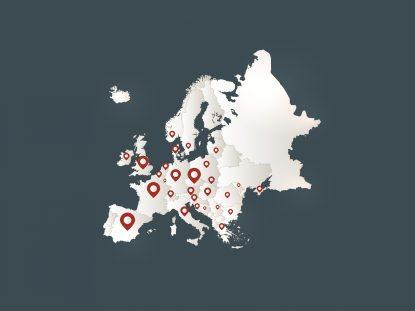 Carte de l'Europe et des smiceurs