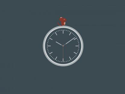 Illsutration de la souris Smice sur une horloge