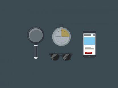 Illustration comprenant : une loupe, une horloge, une paire de lunettes de soleil et un smartphone affichant l'application mobile Smice