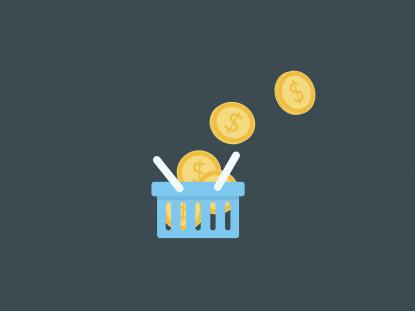 Illustration d'un panier rempli de pièces de monnaie