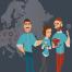 Illustration de trois smiceurs sur avec une carte d'Europe en fond