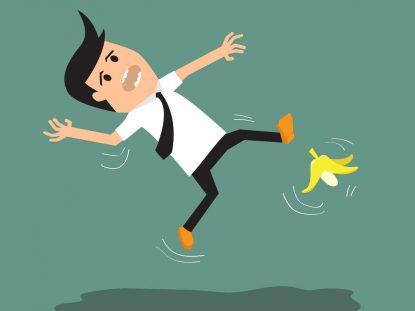 Illustration d'un homme qui glisse sur une peau de banane