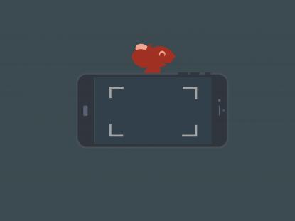 Illustration d'un smartphone en mode appareil photo devant la souris Smice