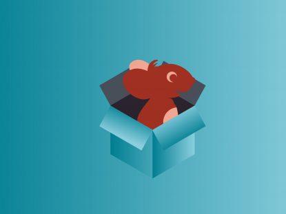 Illustration de la souris Smice dans une boite en carton